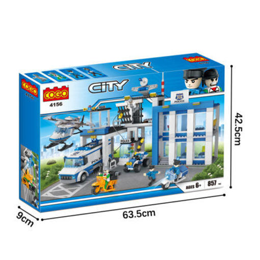 Picture of Cogo - Police City Central  Helicopter Car Action Figure Diy