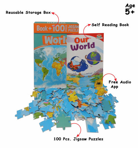 Picture of Busybee- Book+100Pcs Jigsaw Puzzle World