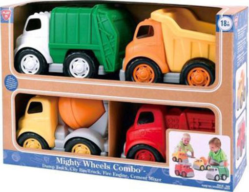 Picture of Mighty Wheels Combo-Dump Truck City School Bus Fire Engine Cement Mixer