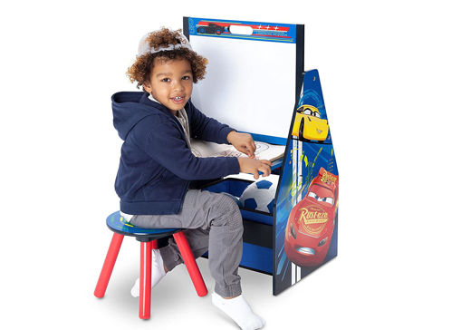 Picture of Cars Activity Center - Easel Desk with Stool & Toy Organizer